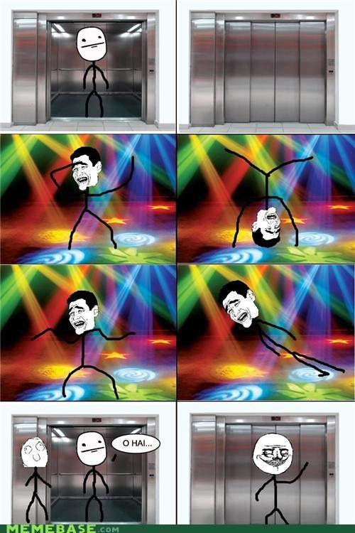 dance,elevator,lights,Party,poker face,Rage Comics