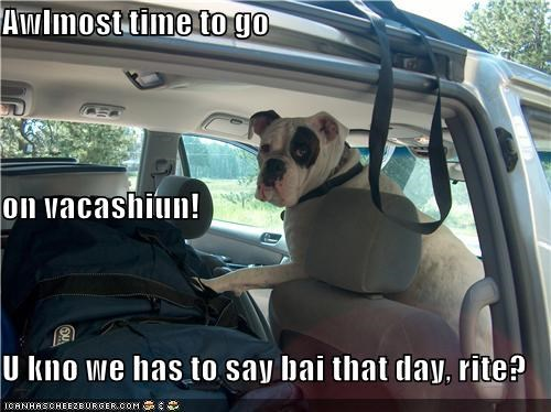 Awlmost time to go on vacashiun! U kno we has to say bai that day, rite?