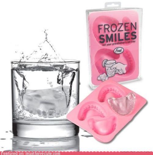 dentures,ice,ice cube,ice cube tray,teeth