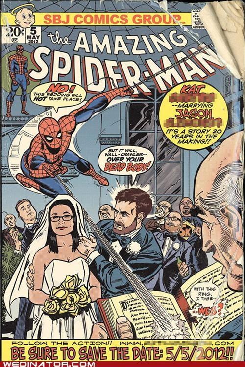 funny wedding invite,funny wedding photos,save the date,Spider-Man,Wedding Invitation