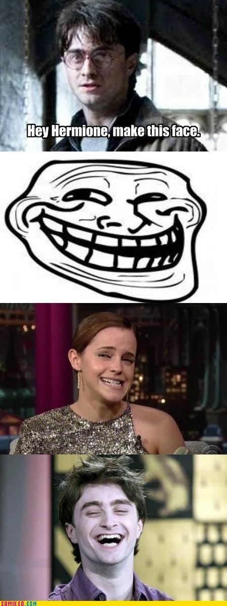 celebutard,emma watson,Harry Potter,hermione granger,troll face
