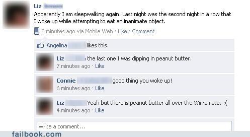 peanut butter,sleep walking,wiimote