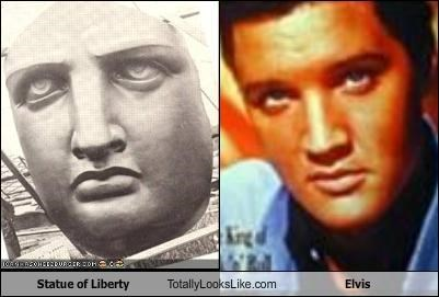 Elvis,Elvis Presley,musicians,new york city,Staue of Liberty,the king