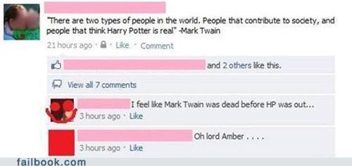 facepalm,Harry Potter,mark twain,over-hisher-head