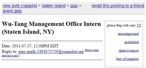 Intern For Wu-Tang of the Day