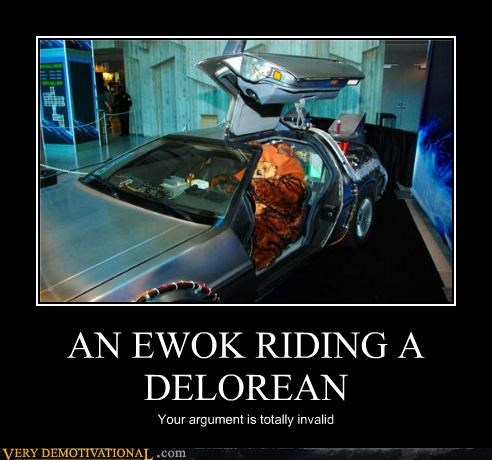 AN EWOK RIDING A DELOREAN