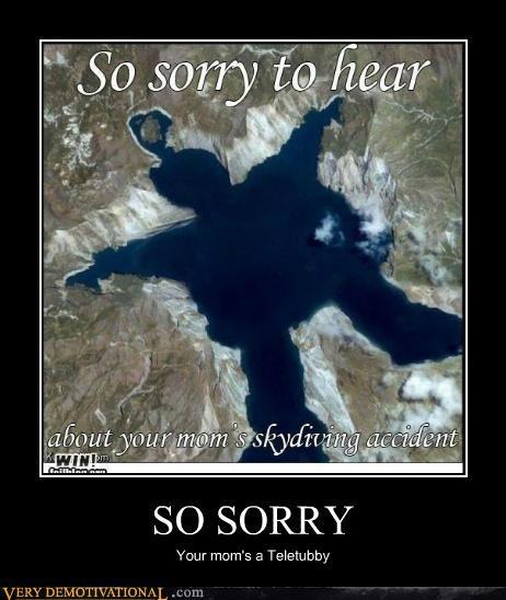 hilarious,lake,teletubby,wtf,your mom