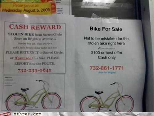 bike,for sale,reward,sign,stealing,theft