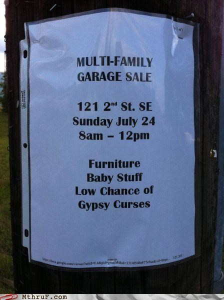 curses,garage sale,Gypsies,magic,sign