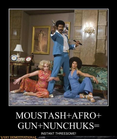 fro,gun,moustache,Movie,nunchucks,Pure Awesome,threesome