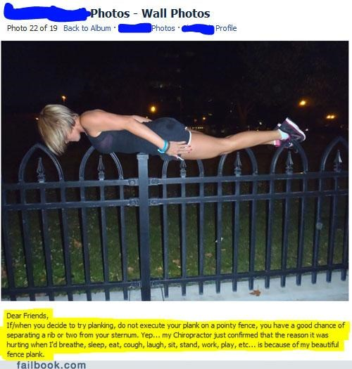 bad idea,fence,image,ouch,Planking