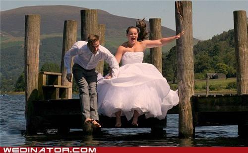 bride,funny wedding photos,groom,jump,water