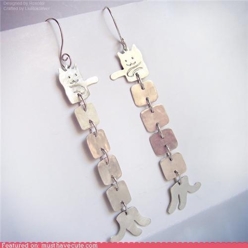 earrings,Jewelry,longcat,silver
