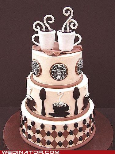 funny wedding photos,Starbucks,wedding cake