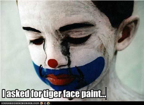 clown,face paint,hipsterlulz,saad,tiger