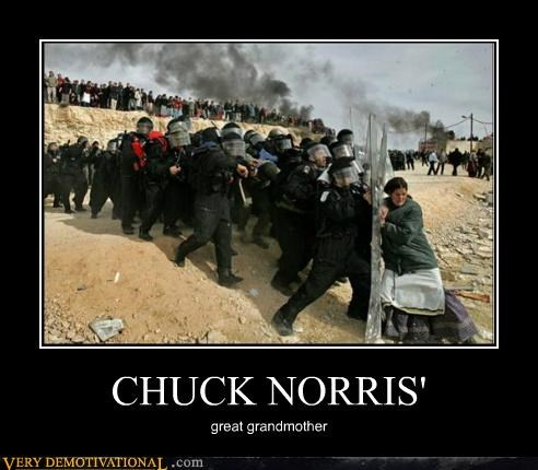 chuck norris,grandmother,Hall of Fame,police,Pure Awesome,riot,wtf