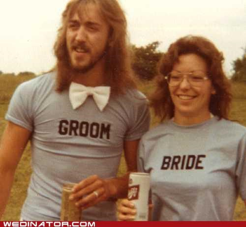 1970s-wedding,bride,funny wedding photos,groom,retro,t shirts