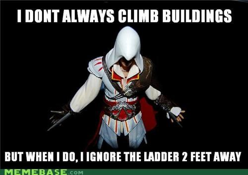 assassins creed,climbing,ladders,the most interesting man in the world,video games