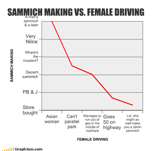 SAMMICH MAKING VS. FEMALE DRIVING