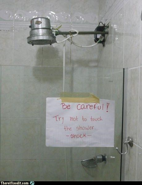 safety first,shower,signs,wires