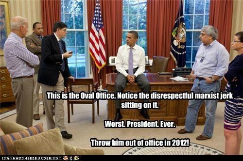 Get off the desk, jerk!