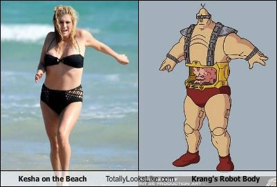 Kesha On The Beach Totally Looks Like Krang's Robot Body