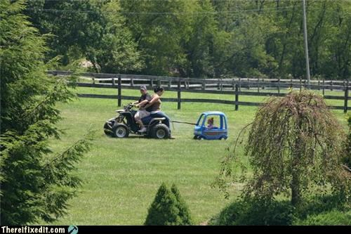 dual use,lawn mower,parents,towing