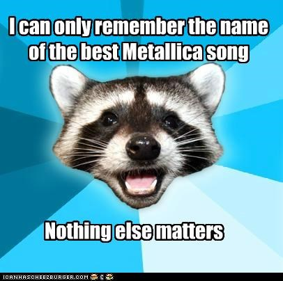 I can only remember the name of the best Metallica song