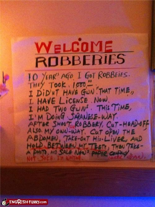 Note to Self: Never Robberies Again