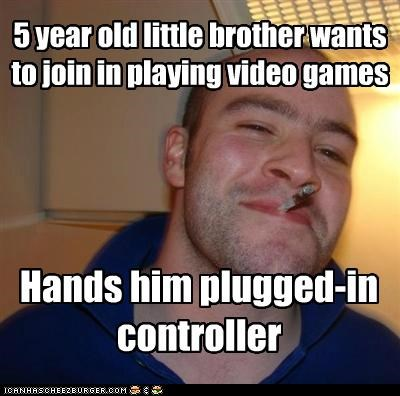 brother,controller,Good Guy Greg,save files,video games