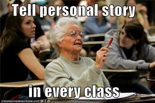 class,college,personal,Senior Freshman,story