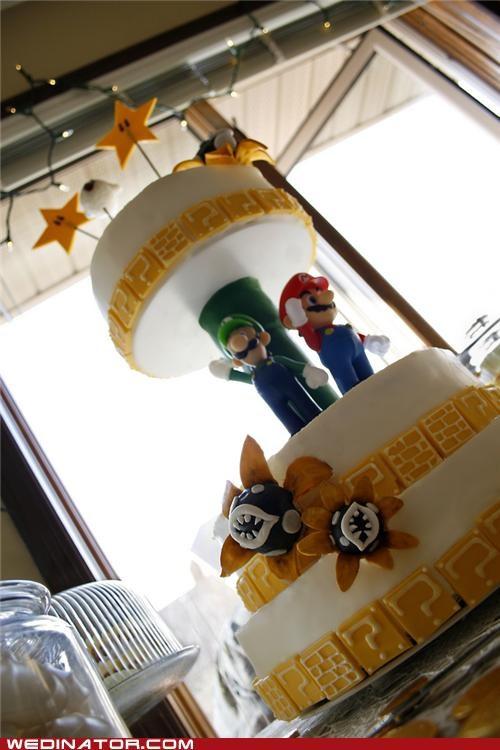 funny wedding photos,geek,super mario cake,wedding cakes
