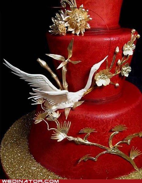 asian,cake,crane,funny wedding photos,wedding cake