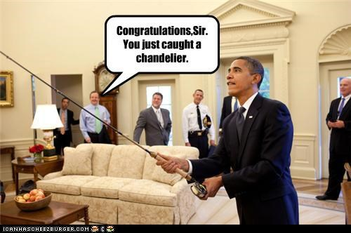 barack obama,chandelier,fishing,Oval Office,politicians,president,Pundit Kitchen,wtf