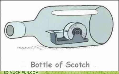 bottle,double meaning,Hall of Fame,literalism,scotch,scotch tape,tape
