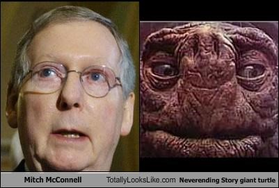 Mitch McConnell Totally Looks Like Neverending Story giant turtle