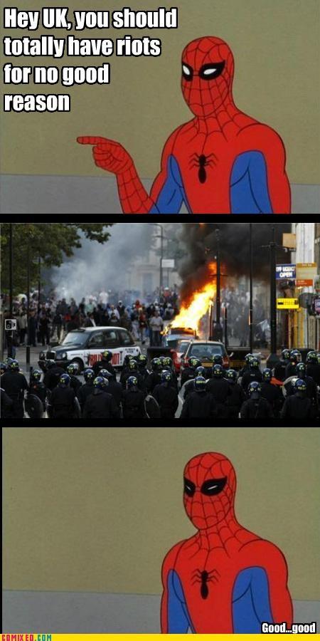 London,riot,Spider-Man,the internets,UK