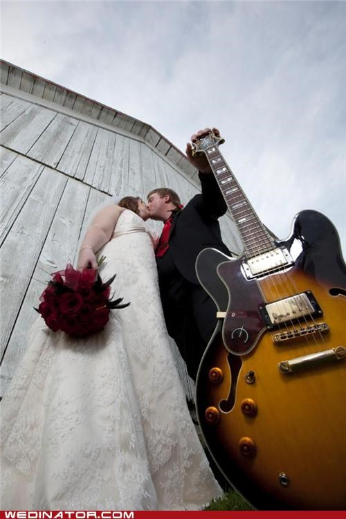 bride,funny wedding photos,giants,groom,guitar,Music,rock