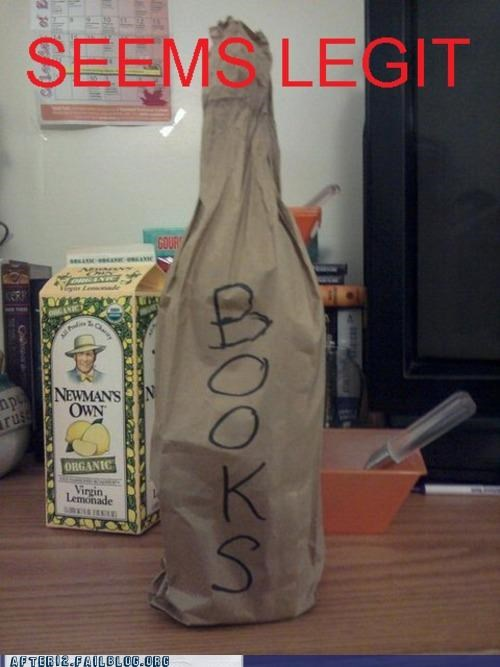 books,booze,hidden,i lied,paper bag,secret