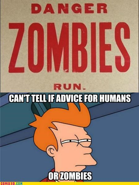 fry meme,futurama,run,sign,the internets,zombie