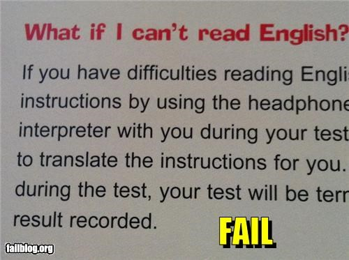 Reading English FAIL