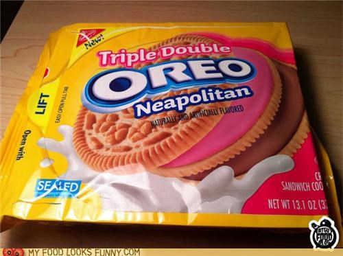 Neapolitan Flavored Triple Double Oreos
