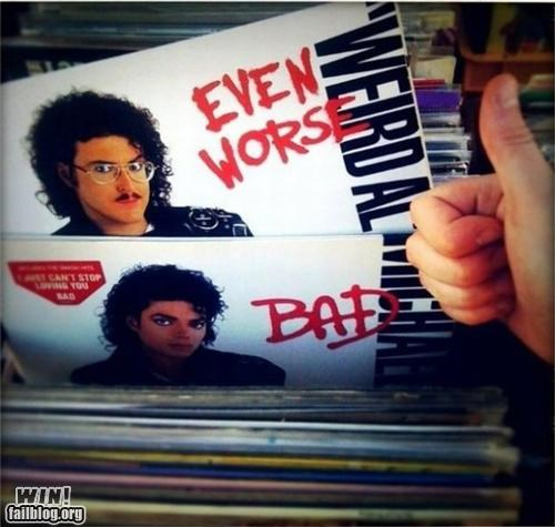 80s,bad,juxtaposed,michael jackson,parody,record,vinyl,Weird Al Yankovic