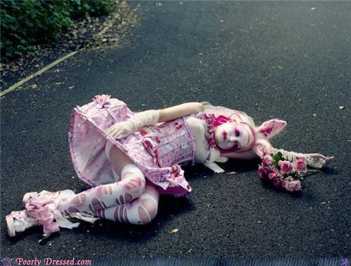 bunny,corset,rabbit,road,roadkill