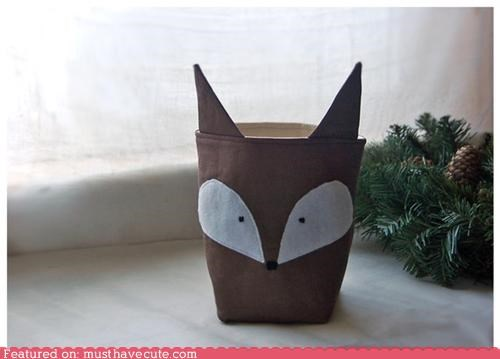 bin,brown,canvas,cup,fabric,face,fox,jar