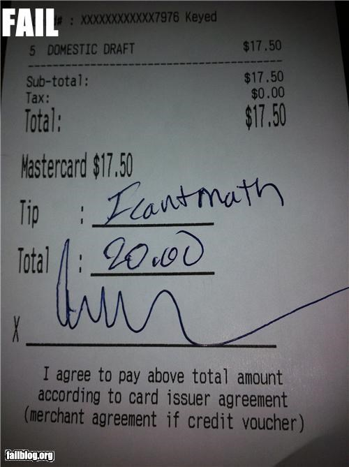 Tip Amount FAIL