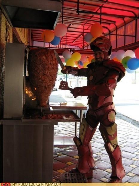iron man,knife,meat,mediterranean,shwarma,slice