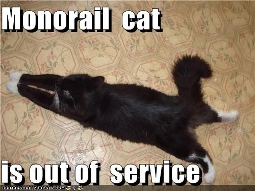 Monorail  cat  is out of  service