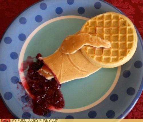 Blood,eggo,hand,jam,leggo,pancakes,wattfle