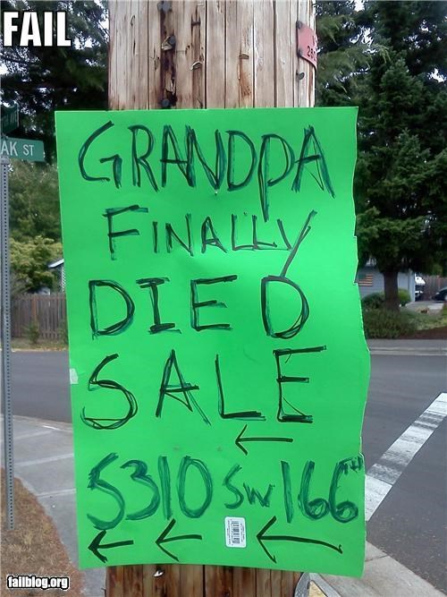 Garage Sale Sign FAIL